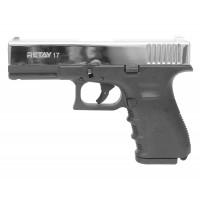 Оружие списанное, охолощенный пистолет 17, (Glok 17), Никель, кал. 9mm. P.A.K..