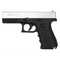 Оружие списанное, охолощенный пистолет G19C, (Glok 19), Никель, кал. 9mm. P.A.K..