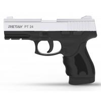 Оружие списанное, охолощенный пистолет PT24, (Taurus), full-auto, Никель, кал. 9..