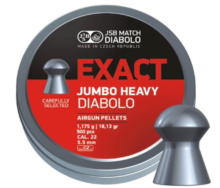 7001, Пуля пневматическая JSB Exact Jumbo Heavy, 5,52 мм, 1,175 г, 500 шт, , 1 200 ₽, 19007, JSB (Чехия), Пули калибра 5,5мм