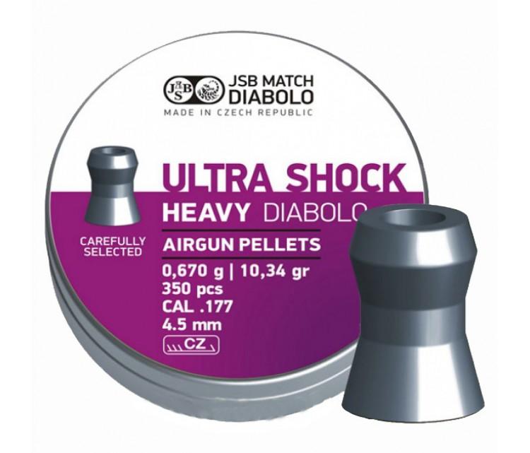 Пули JSB Ultra Shock Heavy Diabolo 4,5 мм, 0,67 грамма, 350 штук